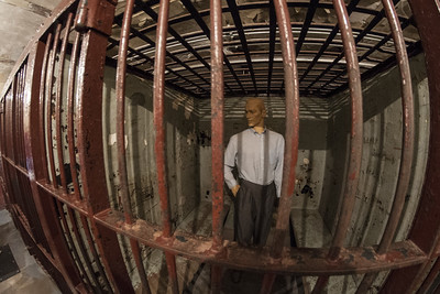 A mannequin inside a jail cell in the basement of The History Center in Fort Wayne, IN on Wednesday, August 12, 2015. Copyright 2015 Jason Barnette