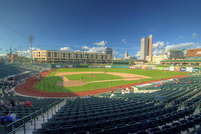 People begin to arrive early for a Tincaps minor league baseball game at Parkview Field in Fort Wayne, IN on Wednesday, August 12, 2015. Copyright 2015 Jason Barnette