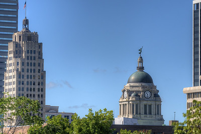 The courthouse stands above the skyline in downtown Fort Wayne, IN on Wednesday, August 12, 2015. Copyright 2015 Jason Barnette