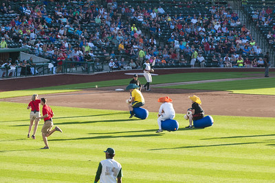 Games entertain the crowds in between innings during a Tincaps minor league baseball game at Parkview Field in Fort Wayne, IN on Wednesday, August 12, 2015. Copyright 2015 Jason Barnette