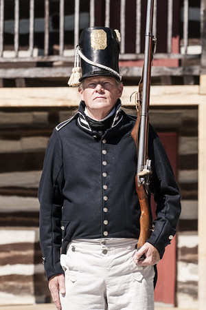 A re-enactor stands at attention inside the Historic Fort in Fort Wayne, IN on Wednesday, August 12, 2015. Copyright 2015 Jason Barnette