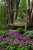 A garden swing in the Stott garden near Goshen, Indiana, USA.