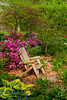 An empty lawn chair with rhododendron flowers in the Stott garden near Goshen, Indiana, USA.