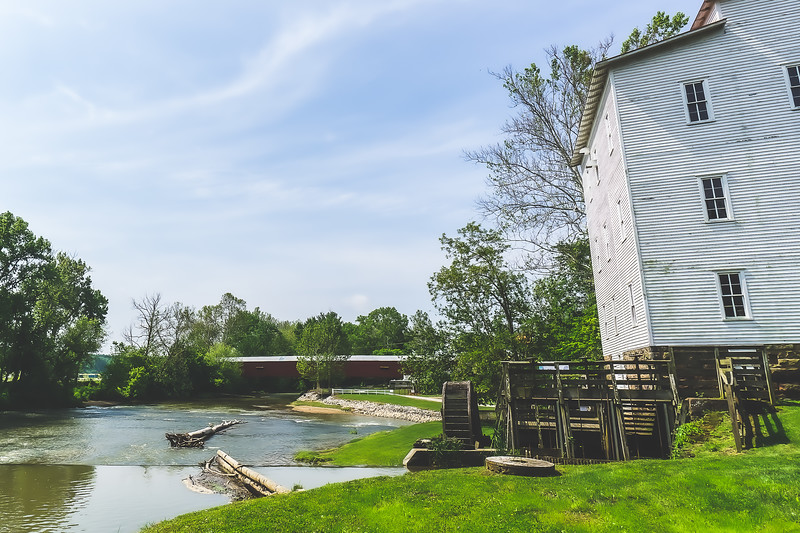 Mansfield Roller Mill and Covered Bridge in Parke County Indiana