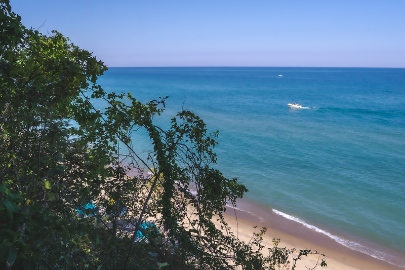 Lake Michigan from Mount Baldy within the Indiana Dunes National Park in Michigan City Indiana