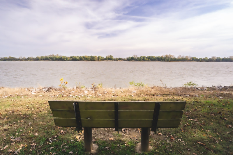 Bench in the Rocky Side Park overlooking the Ohio River (and Kentucky) in Rockport Indiana