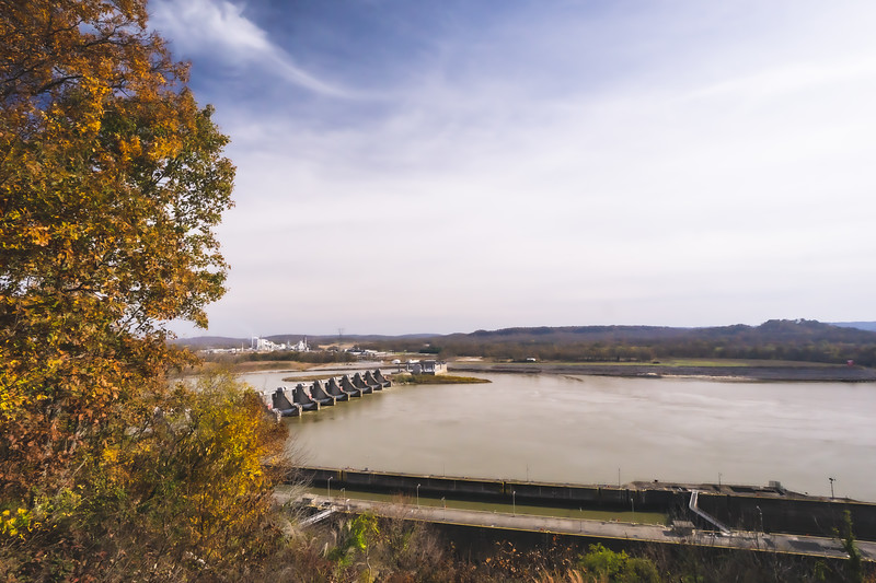 The Cannelton Locks & Dam taken from the Eagles Bluff Overlook Park