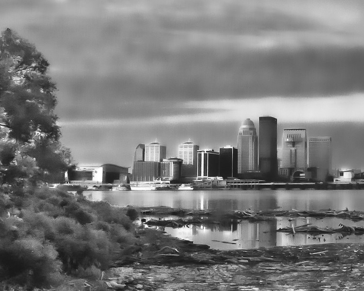 View of Louisville Kentucky from Clarksville Indiana
