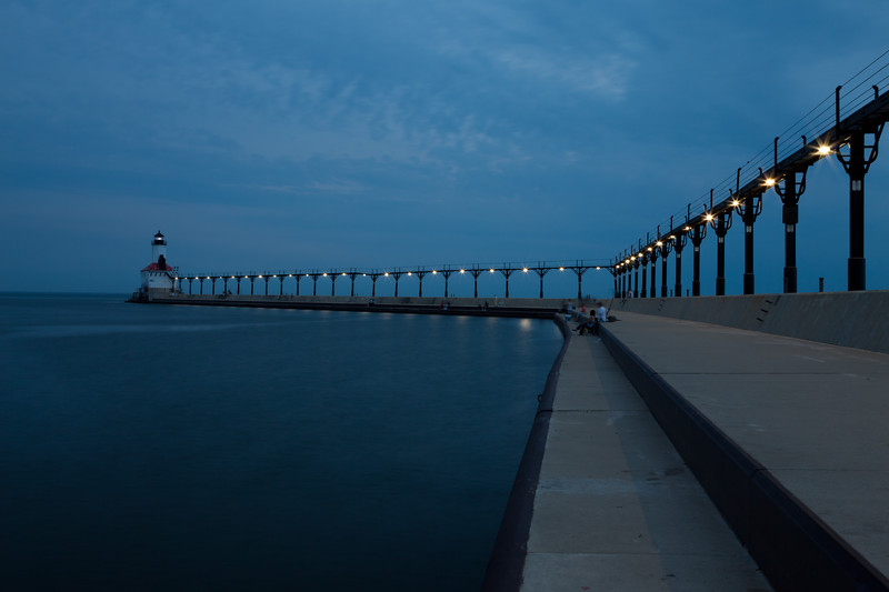Warm summer night at the Michigan City Pier Light. Michigan City, IN<br /> <br /> IN-090627-0064