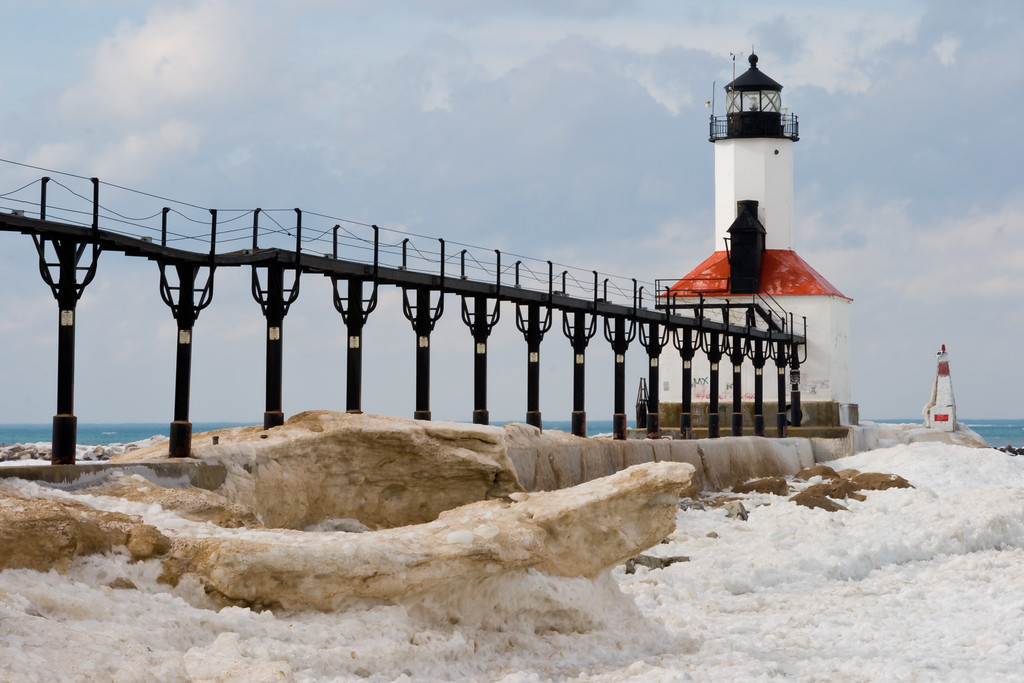 Ice floes and formations around the Michigan City Light. Michigan City, IN<br /> <br /> IN-080217-0080