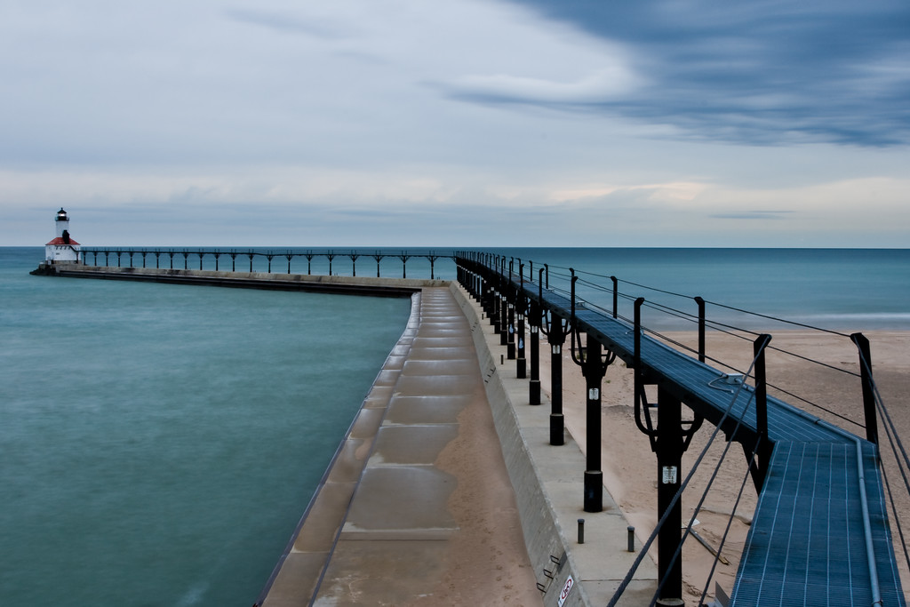 The view from the catwalk provides a unique perspective of Lake Michigan and the Michigan City Lighthouse. Michigan City, IN<br /> <br /> IN-081026-0003-2