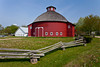 A red round barn at the Amish Acres cultural village in Nappanee, Indiana, USA.