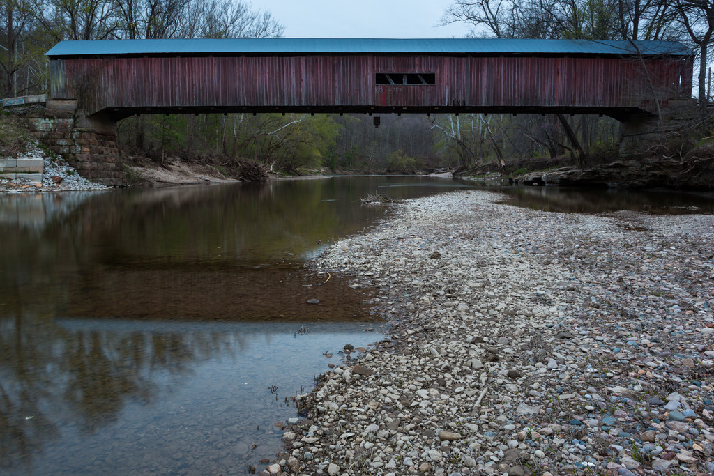 Dusk at Cox Ford Covered Bridge