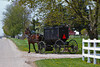 Amish and Mennonites in their horse and buggies in Shipshewana, Indiana, USA.