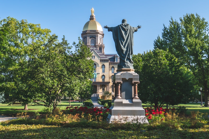 Sacred Heart Jesus Statue in front of the Main Building on the  University of Notre Dame Campus in Notre Dame Indiana