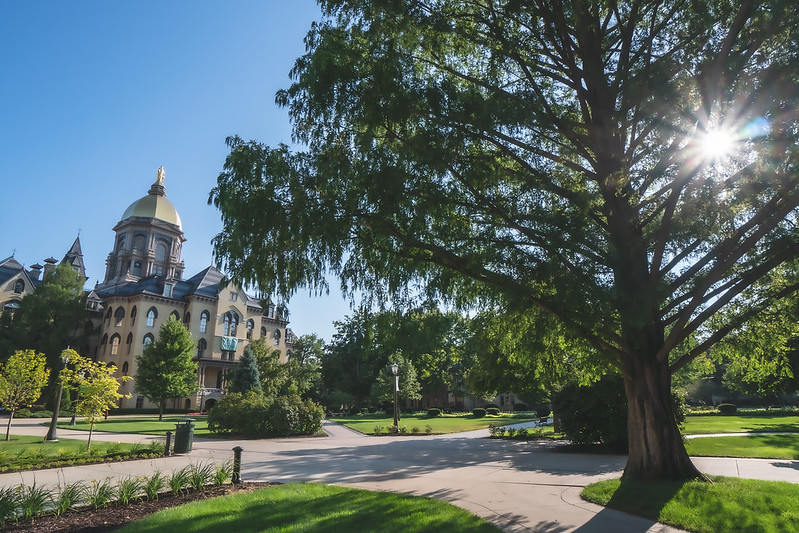 The Main Building on the University of Notre Dame Campus in Notre Dame Indiana