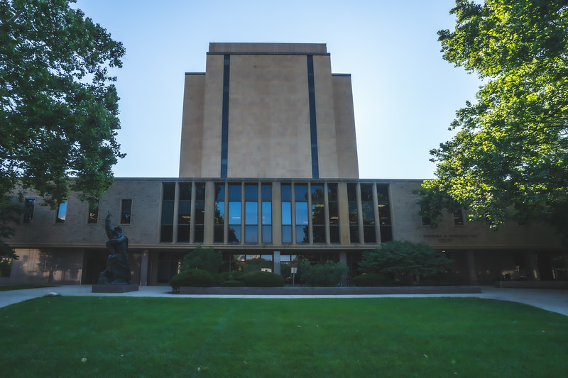 Hesburgh Library on the University of Notre Dame Campus in Notre Dame Indiana