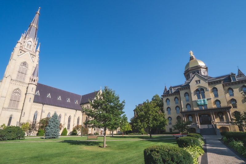 Basilica of the Sacred Heart and the Main Building on the University of Notre Dame Campus in Notre Dame Indiana