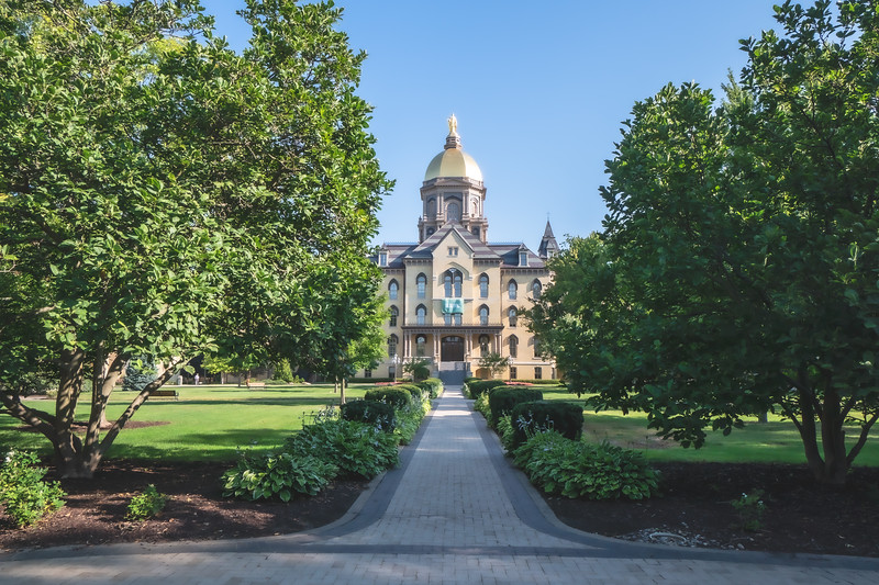 Main Building on the University of Notre Dame Campus in Notre Dame Indiana