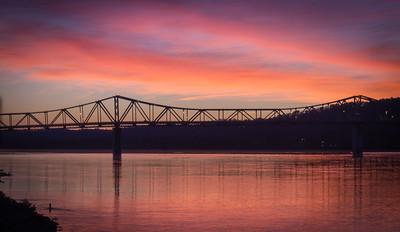Sunrise over the Bridge in Madison, IN