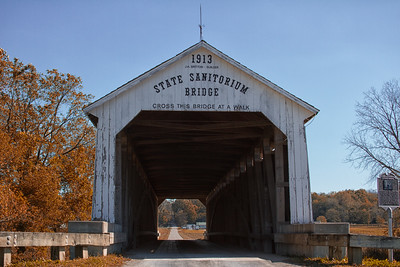 State Sanitorium Covered Bridge with Farm in Fall