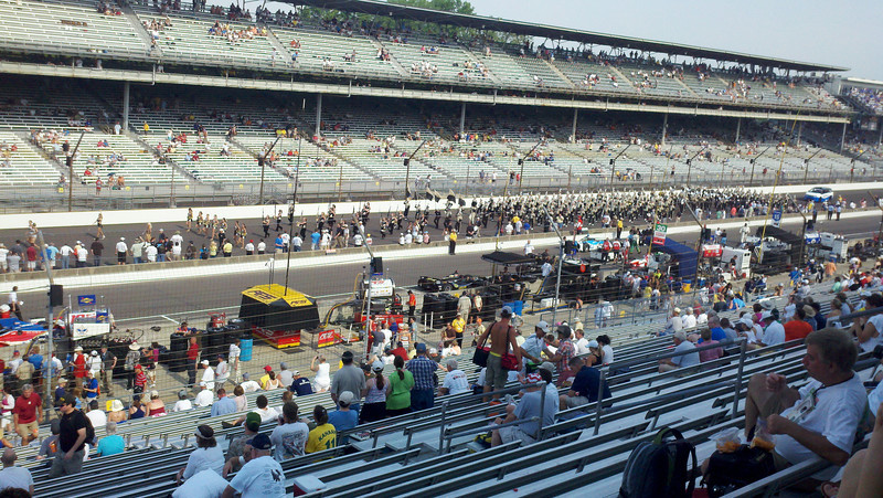 Purdue University Marching Band on the track