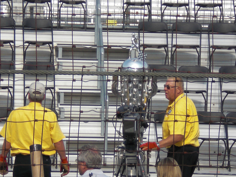 Borg Warner Trophy---faces of winning drivers on it