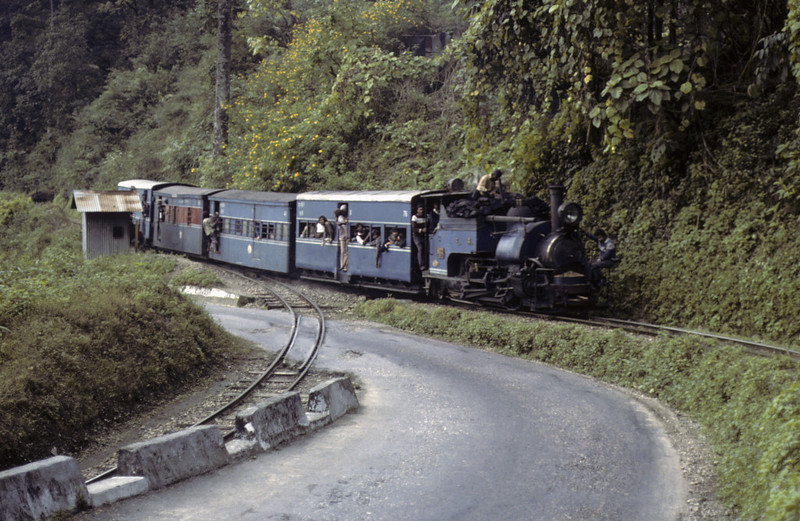 Darjeeling Himalayan Rly 0-4-0T No 802, below Tindharia, December 1979.  The DHR gains height between Rangtong and Kurseong by means of six reverses, but because that section was closed in March 2012 we saw nothing of them.  Here by way of illustration is No 802 setting off from one of the reverses after propelling its train up the line at left from the level below.   Photo by Les Tindall.