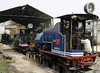 Darjeeling Himalayan Rly 0-4-0T Nos 792 Hawkeye, 788 Tusker & 805 Soldat, Siliguri Junction shed, Tues 27 March 2012.  NB the canvas screens for running in reverse.