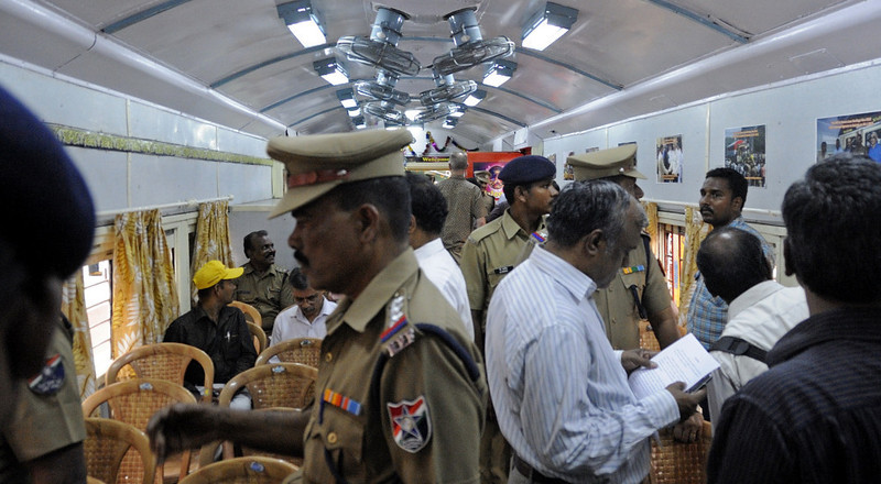 Saloon 85722, Egmore station, Chennai, Fri 23 March 2012 4.  Our party was outnumbered by officials.