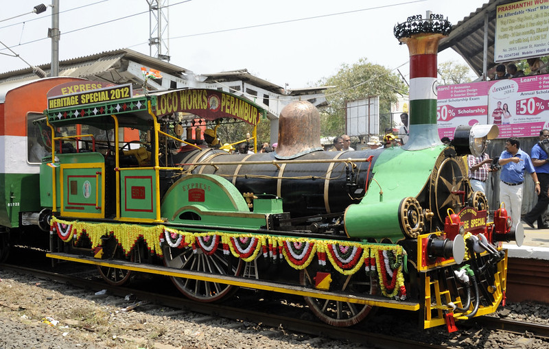 East Indian Rly No 21 Express, Guindy, Fri 23 March 2012 2.  Express is flamboyantly decorated in true Indian style!