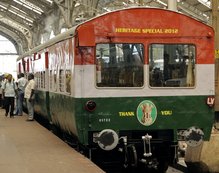 Saloon 85722, Egmore station, Chennai, Fri 23 March 2012 1.  This saloon, with observation windows at both ends, has been specially built at Perambur carriage works, Chennai.  It wears India's national colours, and carries India's lion symbol above the coupling.  It houses a diesel generator to power the air brake compressor and air conditioning etc.