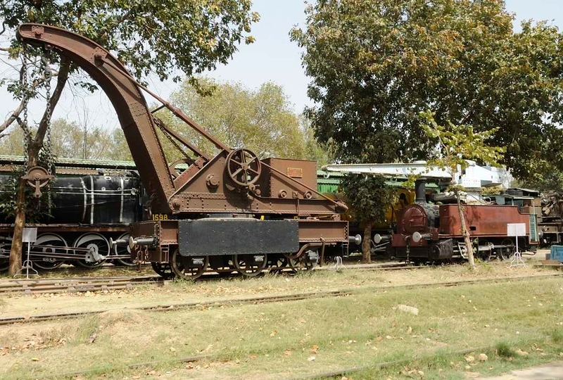 Bombay, Baroda & Central India Railway 15 tom hand crane, & Great Indian Peninsula Railway 0-6-0CT No 3, Indian railway Museum, New Delhi, 24 March 2012.  Both broad gauge (5ft 6in)..