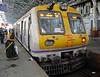 1500V DC  EMU, Chhatrapati Shivaji Terminus, Mumbai, Sun 18 March 2012 - 0839.   Most of the Mumbai suburban lines still use DC traction,