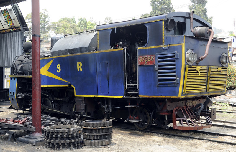 37386, Coonor, Wed 21 March 2012.  There is now a donkey engine in the bunker.  NB the cog wheels in the foreground.