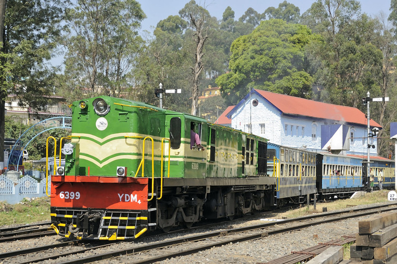 6399, Coonor, Tues 21 March 2012.  The Coonor - Ooty section of the Nilgiri is an adhesion line, and is in the hands of four YDM4 1400hp Co-Co diesels.  Amost 600 of these Alco-derived locos were built 1961 - 1990, most, including the four seen here, by Indian Rlys' Diesel Loco Works, Varanasi (formerly Benares).