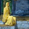 Woman, Green Door, Blue Wall, Jodhpur