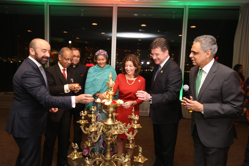 26 Jan India's Republic day at UN-President of UN GA Miroslav,lieutenant Governer of NY Kathy Hochul,UN Dpty Secretary General Amina Mohmmed,Undersectetary Atul Khare,Under Secretary Gemeral Miguel De Serpa Soares,Consulate General of India Sandeep Chakravorty and Ambassador Syed Akbaruddin can be seen on 69th Republic day celebration held at UN on 26th jan 2018...pic Mohammed Jaffer-Snapsindia