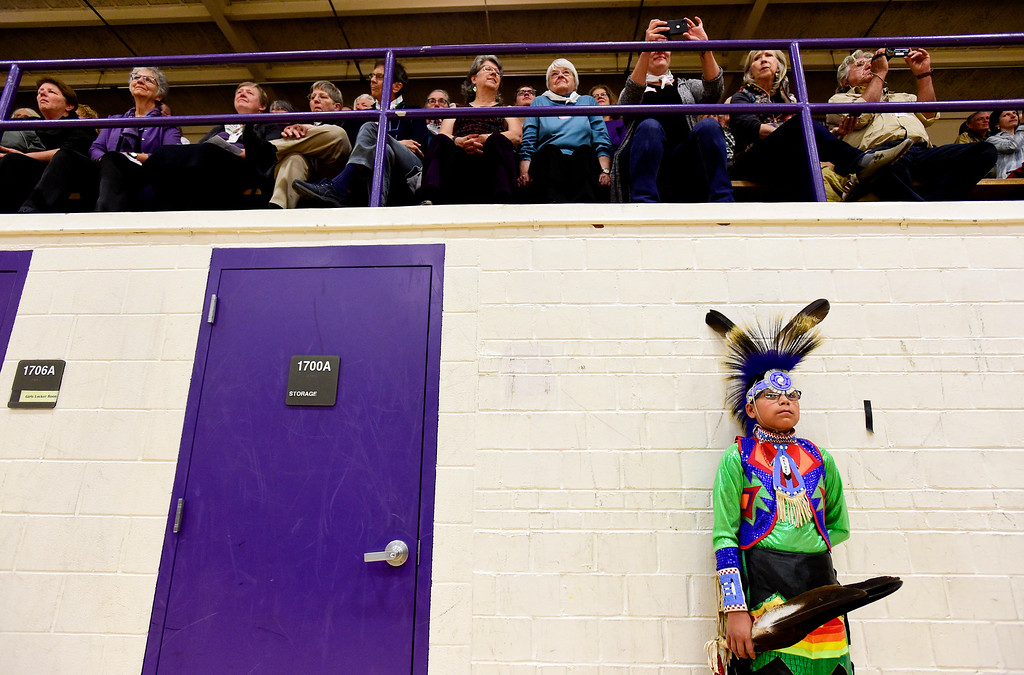 . BOULDER, CO - OCTOBER 7:Delmer Duran, 13, listens to speakers during Indigenous Peoples Day at Boulder High School in Boulder on Oct. 7, 2018. (Photo by Matthew Jonas/Staff Photographer)