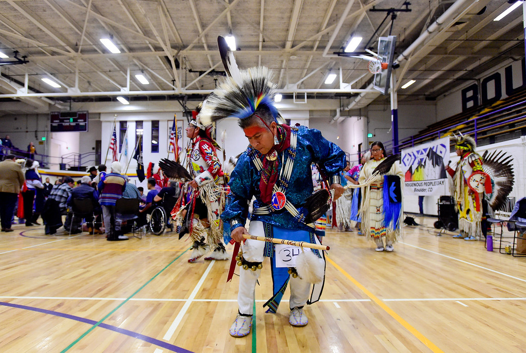 . BOULDER, CO - OCTOBER 7:James Yellowfish dances in during the grand entry at Indigenous Peoples Day at Boulder High School in Boulder on Oct. 7, 2018. (Photo by Matthew Jonas/Staff Photographer)