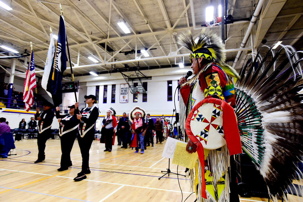 . BOULDER, CO - OCTOBER 7:Harvey Spoonhunter announces members of the southern and northern Arapaho Tribes during the grand entrance at Indigenous Peoples Day at Boulder High School in Boulder on Oct. 7, 2018. (Photo by Matthew Jonas/Staff Photographer)