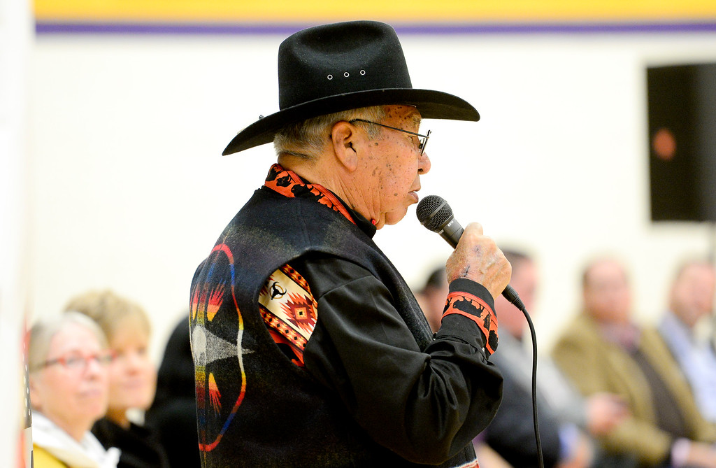 . BOULDER, CO - OCTOBER 7:Willam C\'Hair, Eagle Chief, speaks during Indigenous Peoples Day at Boulder High School in Boulder on Oct. 7, 2018. (Photo by Matthew Jonas/Staff Photographer)