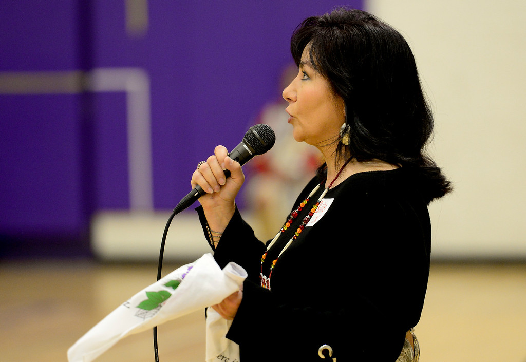 . BOULDER, CO - OCTOBER 7:Southern Arapaho Tribe Legislator Bille Sutton speaks during Indigenous Peoples Day at Boulder High School in Boulder on Oct. 7, 2018. (Photo by Matthew Jonas/Staff Photographer)
