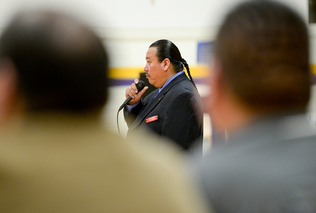 . BOULDER, CO - OCTOBER 7:Stephen Fasthorse speaks during Indigenous Peoples Day at Boulder High School in Boulder on Oct. 7, 2018. (Photo by Matthew Jonas/Staff Photographer)
