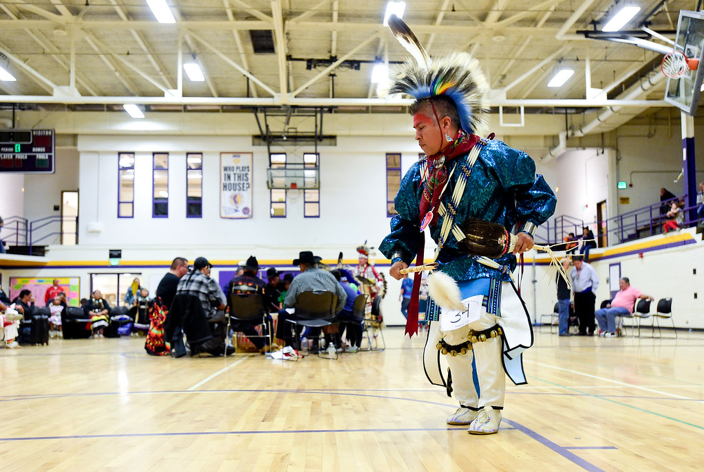 . BOULDER, CO - OCTOBER 7:James Yellowfish dances in a traditional dance exhibition at Indigenous Peoples Day at Boulder High School in Boulder on Oct. 7, 2018. (Photo by Matthew Jonas/Staff Photographer)
