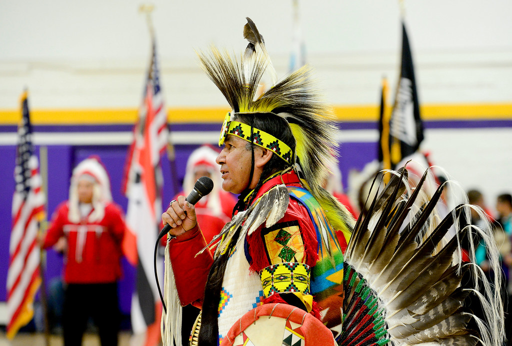 . BOULDER, CO - OCTOBER 7:Harvey Spoonhunter announces members of the southern and northern Arapaho Tribes during the grand entrance at Indigenous Peoples Day at Boulder High School in Boulder on Oct. 7, 2018. (Photo by Matthew Jonas/Staff Photographer
