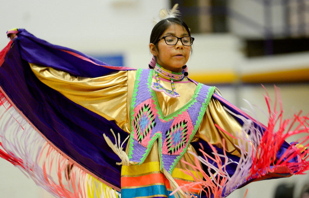. BOULDER, CO - OCTOBER 7:Lyla Duran dances in a traditional dance exhibition during Indigenous Peoples Day at Boulder High School in Boulder on Oct. 7, 2018. (Photo by Matthew Jonas/Staff Photographer)