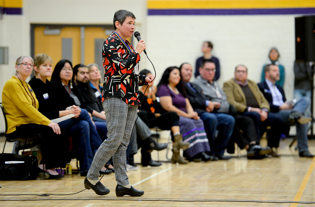 . BOULDER, CO - OCTOBER 7:Boulder Valley School District Assistant Superintendent of Instructional Services and Equity Samantha Messier speaks during Indigenous Peoples Day at Boulder High School in Boulder on Oct. 7, 2018. (Photo by Matthew Jonas/Staff Photographer)