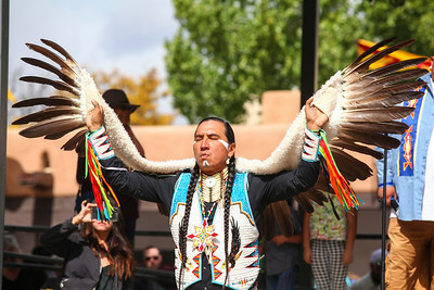 Indigenous groups from across the state gathered Monday to perform traditional dances and celebrate Indigenous Peoples Day at the Santa Fe Plaza on October 9, 2017. Gabriela Campos/The New Mexican