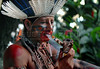 A member of the Fulni-ô tribe waits to perform at the Museum of the Indian in Rio de Janeiro, Brazil, April 20, 2009. A Fulni-ô's group, from Brazil's north-est Pernambuco state were at the museum to participate at festivities for Brazil's Indian day; the Fulni-ô tribe preserve and practice the original languaje and culture. (Austral Foto/Renzo Gostoli)